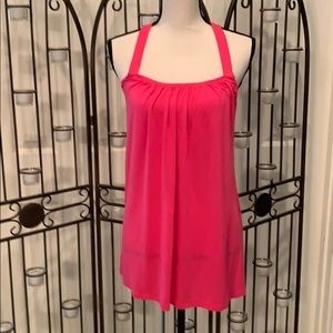 CAbi  knit top with lined bodice.